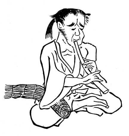 Figure 4: Lower-caste beggar-monks who used the flute while seeking alms, nicknamed <I>komos&#333;</I>.